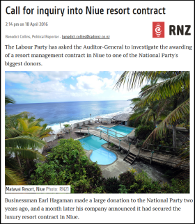 Call for inquiry into Niue resort contract